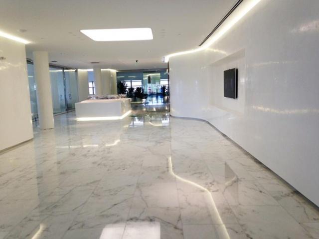 Gleaming white venetian plaster walls.