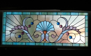 Stained glass door transom.