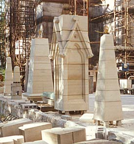 MATCHING HISTORIC STONE. The fabricator located the original historic sandstone needed to make these Gothic replacement spires for a Connecticut church building damaged in a tornado. A broker's sample led to a long abandoned quarry in Ohio, the original source for all the trim in the building when it was first constructed over a century ago. Dispatched to the wild and remote site, a quarrying crew was able to obtain matching blocks sufficient for the work.