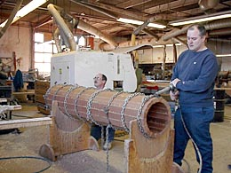 STAVED COLUMNS SAVE WOOD Here a column is glued and compressed out of vertical grain old growth redwood. Photo by Fagan Design and Fabrication.