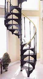 When planning support, note that the load in a modular cast iron spiral is carried by the stairs themselves, not the centerpole, as is the case in other spiral systems.