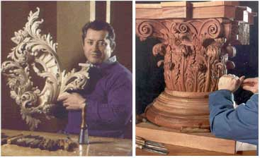 To American eyes the classical architectural tradition has its roots in an ancient Europe that is somehow apart from the natural world. The work and teaching of Dimitrios Klitsas reconnects us to the natural origin of the classical orders. On the right is a Corinthian capital and on the left the master carver holds a wild, flourishing acanthus sconce. Photo courtesy of Dimitrios Klitsas.