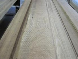 Fresh sawn white oak lumber.