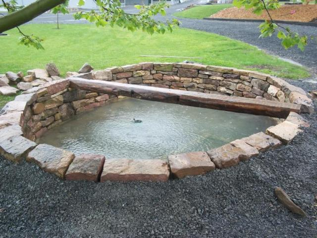 Wet stone goes best with dry stacked stone.