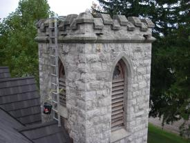 Christ Church in Dundas, Ontario, stone masonry restoration.