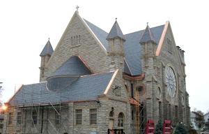 St. Mary's Church building looks radiant in her new black slate and copper.