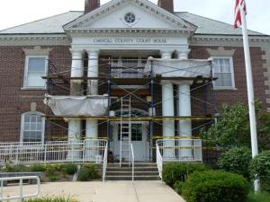 Restoration of four staved columns at the Carroll County Courthouse. Note containment.
