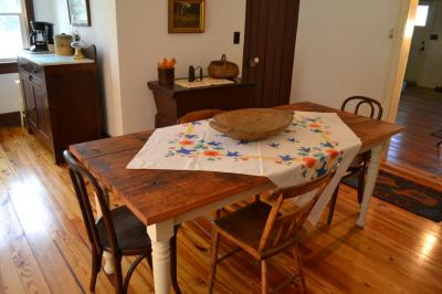 This dining table was built out of pine flooring surplused from the kitchen demo.