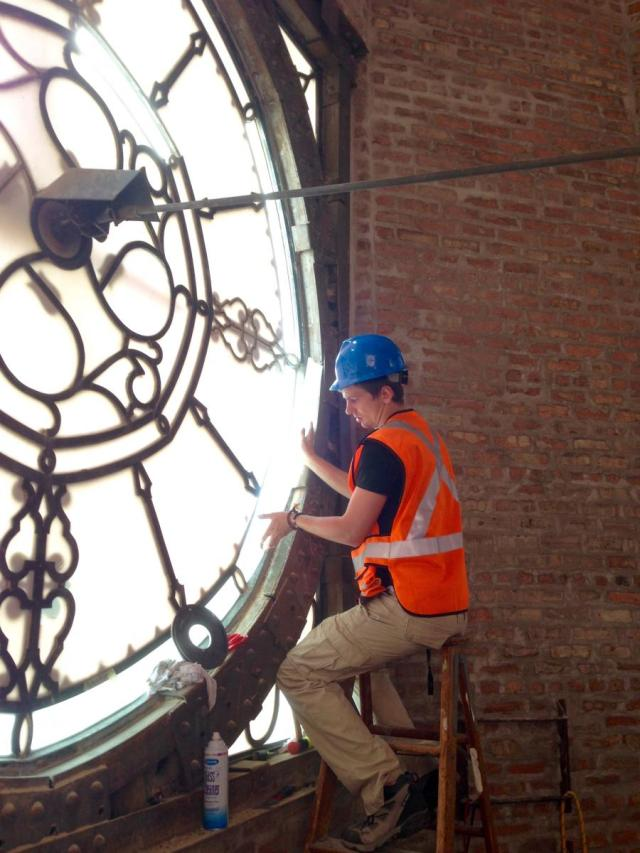 Tower clock face interior, fitting glass.