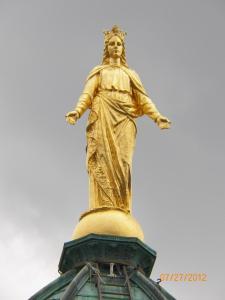 Queen of Heaven statue, gilded.