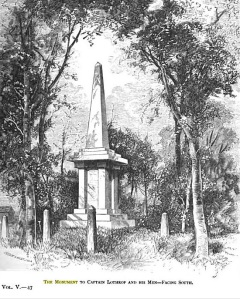 Dwg from 1875, the year of the bicentennial of the event. Note the little baby obelisks sprouting from the ground, all around.