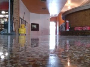 Close up terrazzo floor restoration, after final polishing.