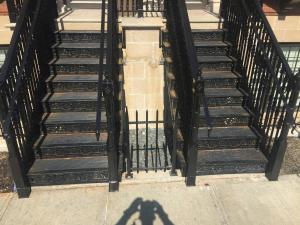 Historic cast iron staircase spans.