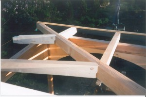 Roof framing assembly, from above, in process.