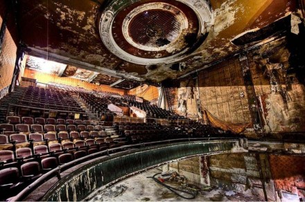 A daunting sight, the interior of the Queen Theater after 50 years of abandonment.