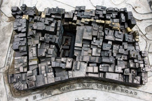Plan view of architectural model of Kowloon Walled City.